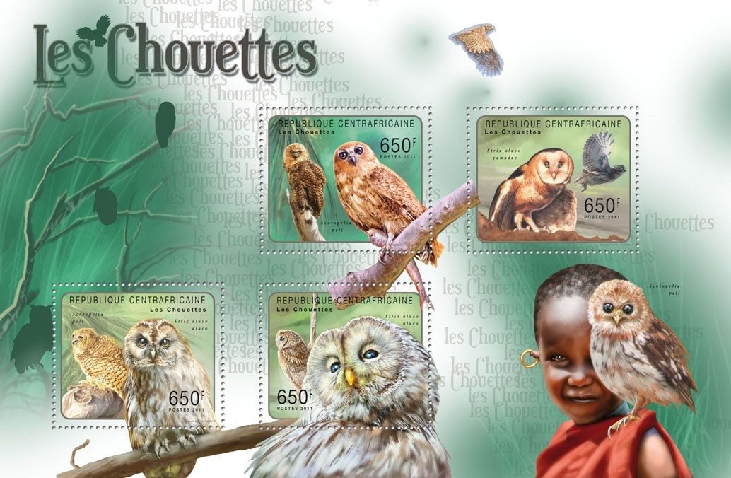 Owls. - Issue of Central African republic postage stamps