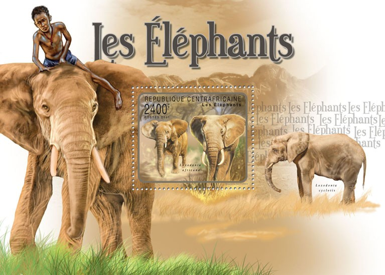 Elephants. - Issue of Central African republic postage stamps