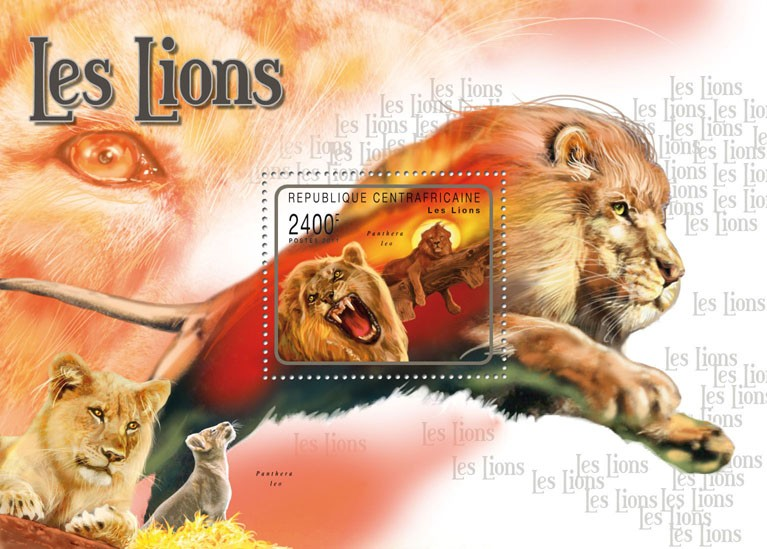 Lions. - Issue of Central African republic postage stamps
