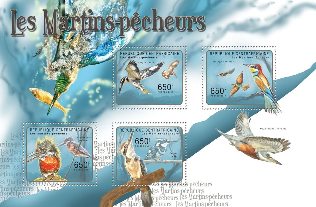 Kingfishers. - Issue of Central African republic postage stamps