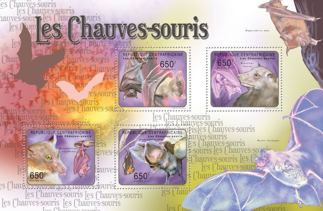 Bats. - Issue of Central African republic postage stamps