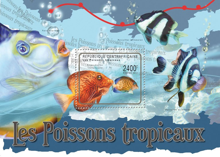 Tropical Fishes. - Issue of Central African republic postage stamps
