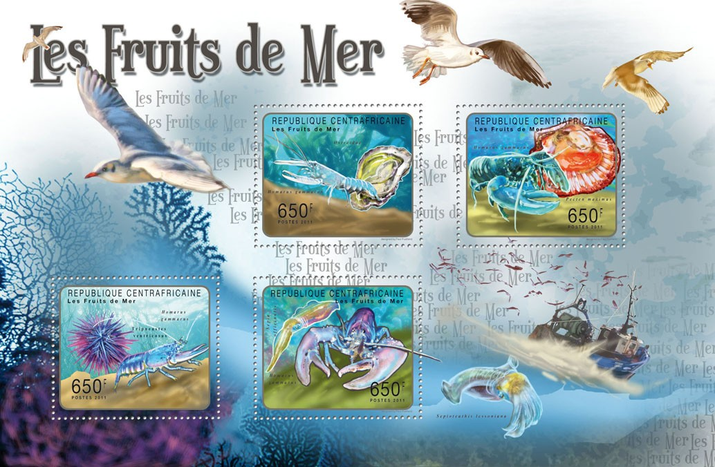 Seafood. - Issue of Central African republic postage stamps
