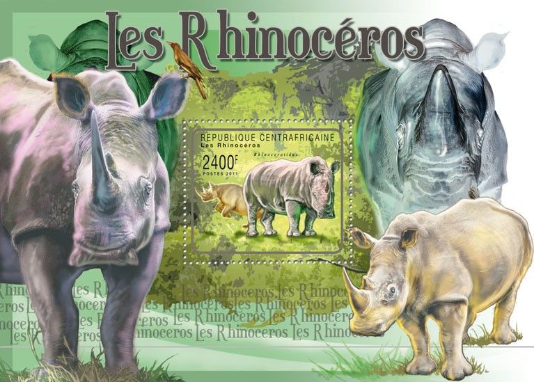 Rhinos. - Issue of Central African republic postage stamps