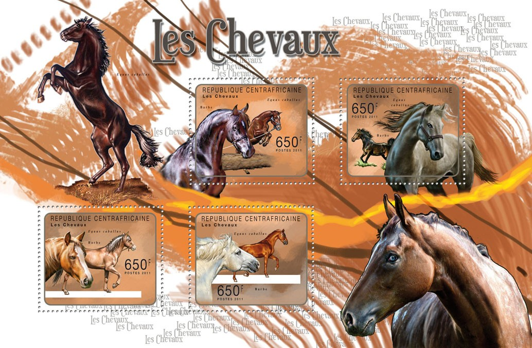 Horses. - Issue of Central African republic postage stamps