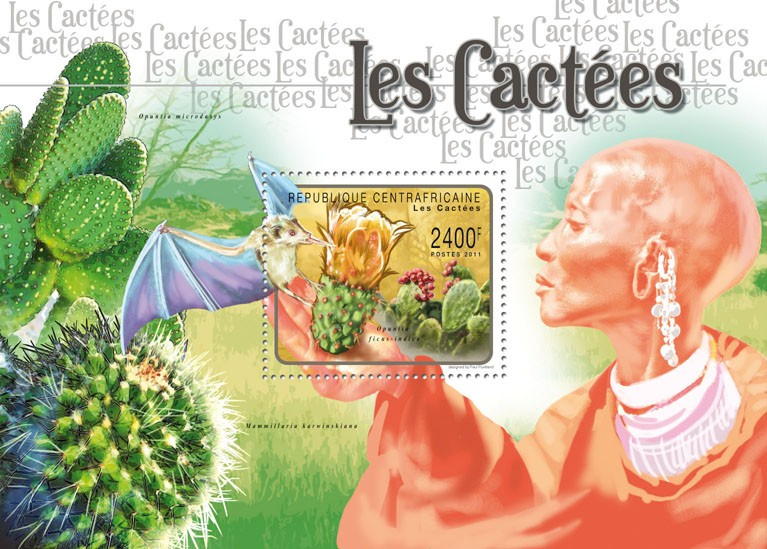Cactusses. - Issue of Central African republic postage stamps
