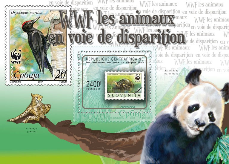 Endangered Animals, (WWF - Stamp on Stamp). - Issue of Central African republic postage stamps