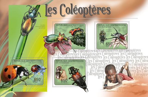Beetles, (Carabus, Ips typographus). - Issue of Central African republic postage stamps