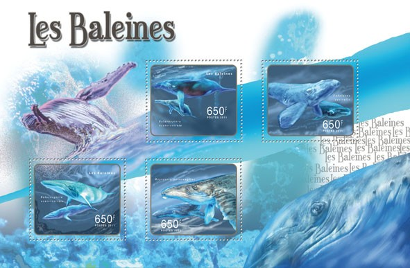 Whales, (Balaenoptera acutorostrata, Megaptera novaeangliae). - Issue of Central African republic postage stamps