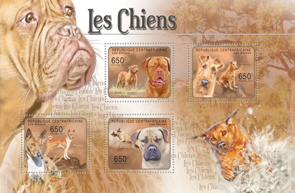 Dogs, (Dogue de Bordeaux, Boerboel). - Issue of Central African republic postage stamps