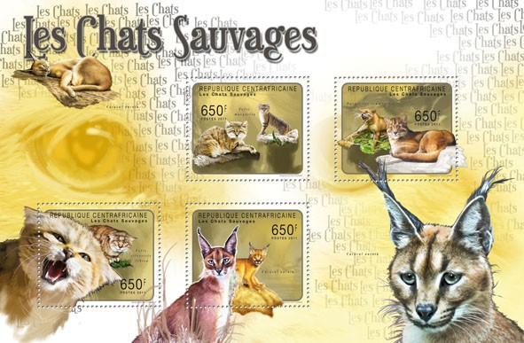 Wild Cats, (Felis margalita, Caracal aurata). - Issue of Central African republic postage stamps