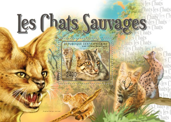 Wild Cats, (Profelis aurata). - Issue of Central African republic postage stamps