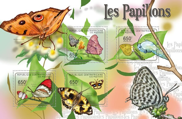 Butterflies II, (Melanitis leda, Junonia hierta). - Issue of Central African republic postage stamps