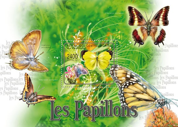 Butterflies II, (Eurema hecabe). - Issue of Central African republic postage stamps