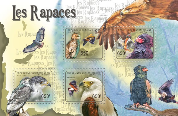 Raptors (Birds),  (Aquila rapax rapax, Heliaeetus vocifer). - Issue of Central African republic postage stamps