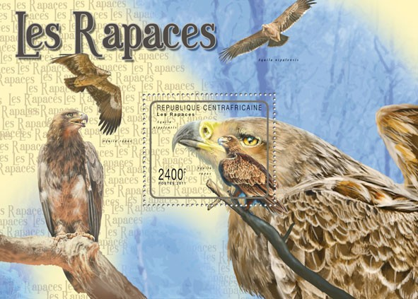 Raptors (Birds), (Aquila rapax rapax). - Issue of Central African republic postage stamps