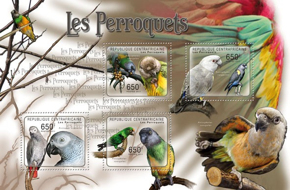 Parrots, (Poicephalus senegalus, Psittacus eritacus). - Issue of Central African republic postage stamps