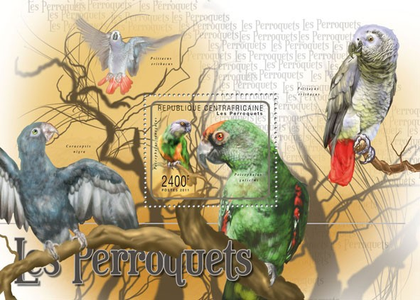 Parrots, (Poicephalus gulielmi). - Issue of Central African republic postage stamps