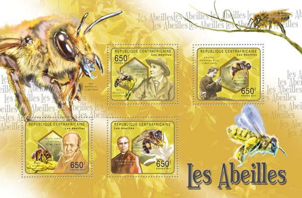 Bees, (Jean Henri Fabre, Leon Provancher). - Issue of Central African republic postage stamps