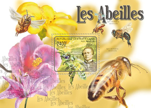 Bees, (Jean Henri Fabre). - Issue of Central African republic postage stamps