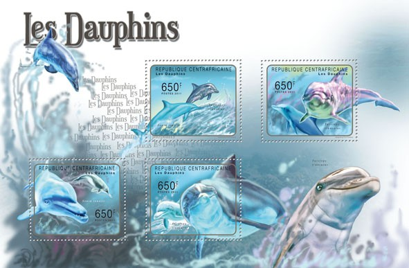 Dolphins, (Sousa tenszii, Tursiops truncates). - Issue of Central African republic postage stamps