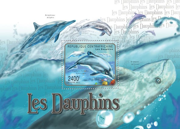 Dolphins, (Cephalorhuchus heavisidi). - Issue of Central African republic postage stamps