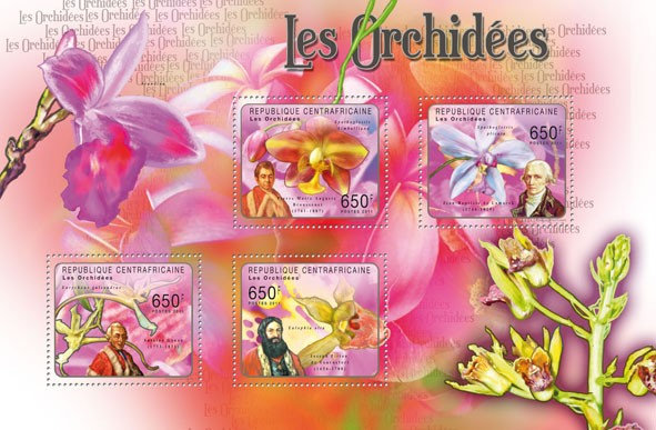 Orchids, (P.M.A. Broussonet, Joseph Pitton de Tournefort). - Issue of Central African republic postage stamps