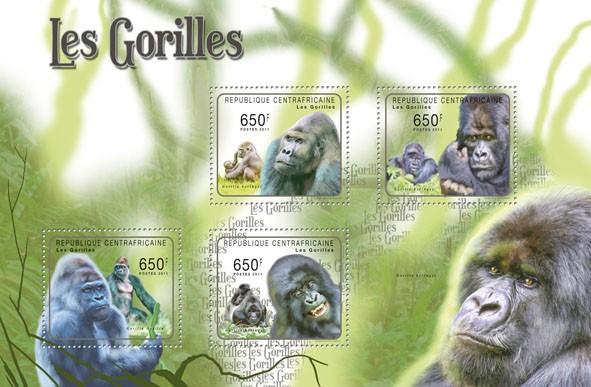 Gorrilas, (Gorilla beringei, Gorila gorila). - Issue of Central African republic postage stamps