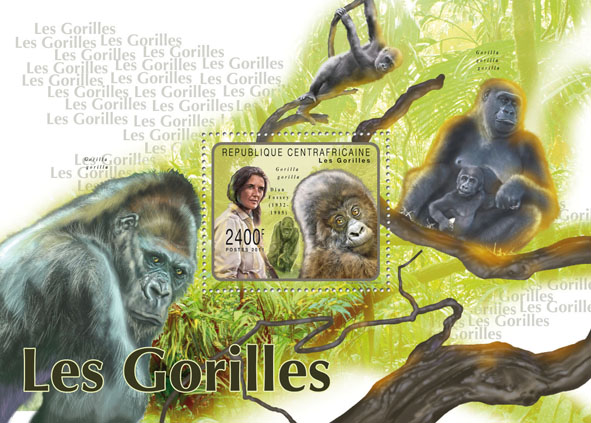 Gorrilas, (Dian Fossey). - Issue of Central African republic postage stamps