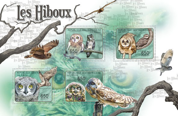 Owls, (Asio madagascarensis, Asio Flammeus). - Issue of Central African republic postage stamps