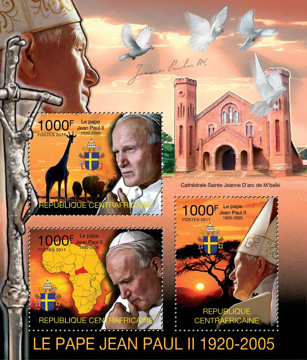 Pope John Paul II, (1920-2005). - Issue of Central African republic postage stamps