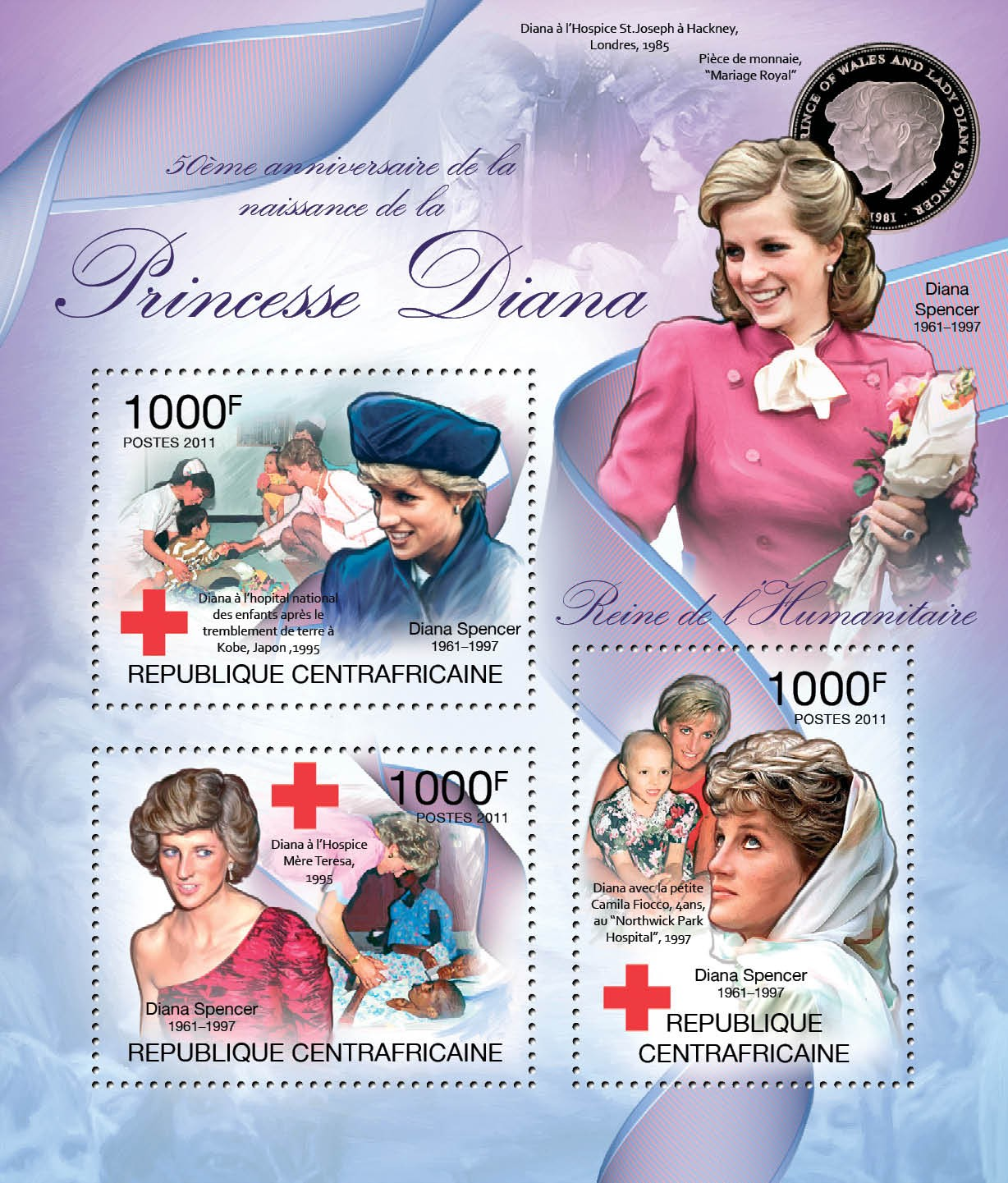 50th Anniversary of Birth of Princess Diana, (1961-1997). Red Cross. - Issue of Central African republic postage stamps