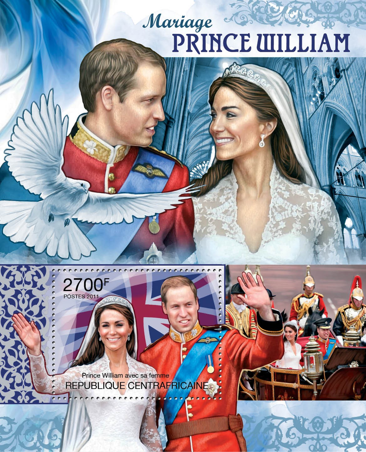 Royal Wedding, Prince William & Katherine Middleton. - Issue of Central African republic postage stamps