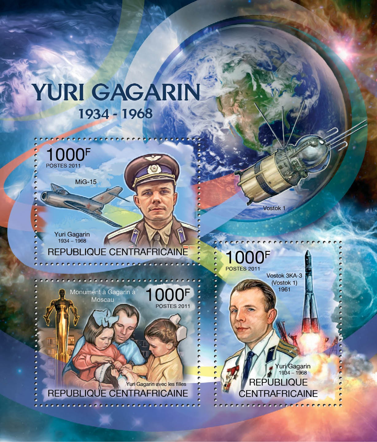 Yuri Gagarin. (1934-1968), Space. - Issue of Central African republic postage stamps