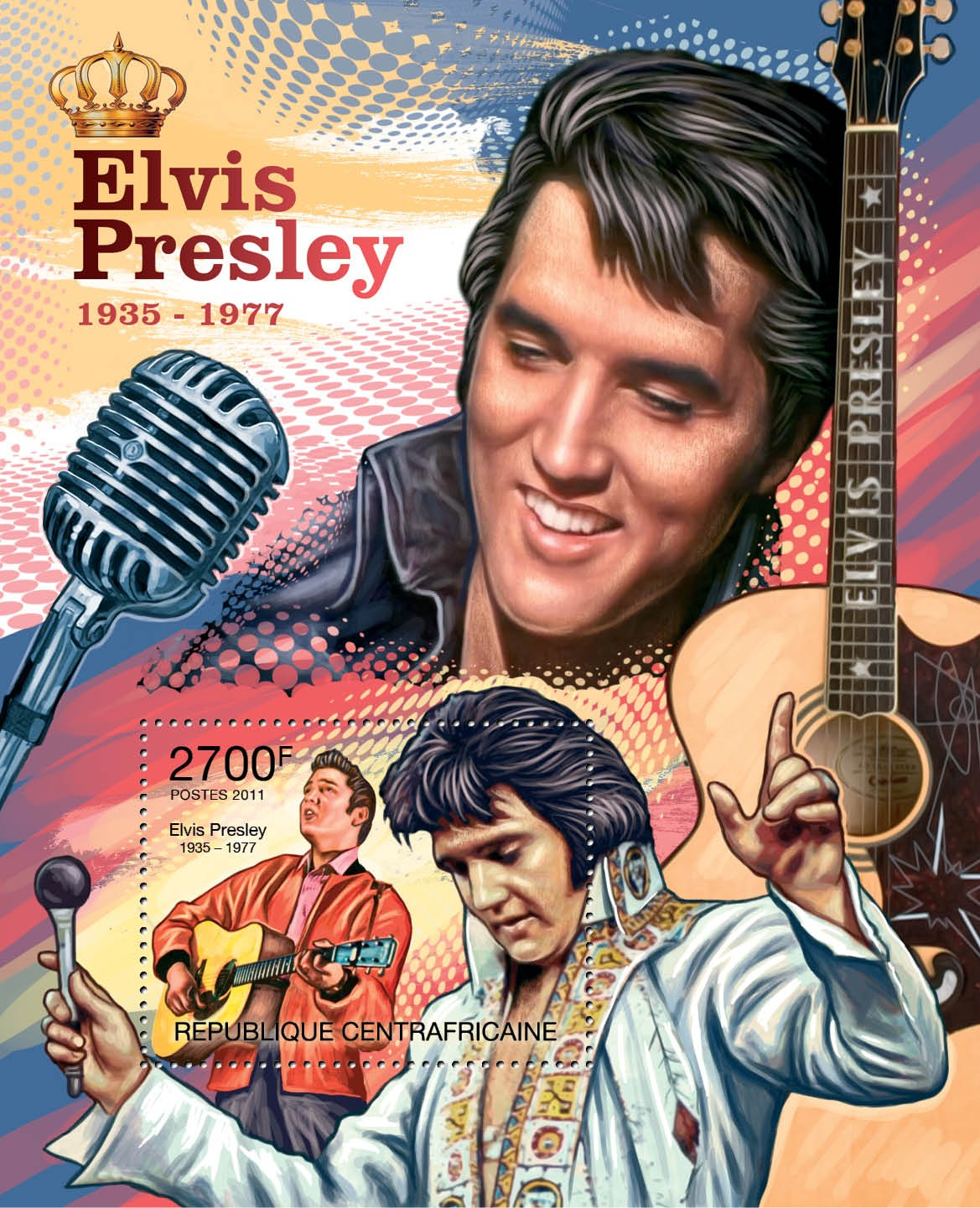 Elvis Presley, (1935-1977). - Issue of Central African republic postage stamps