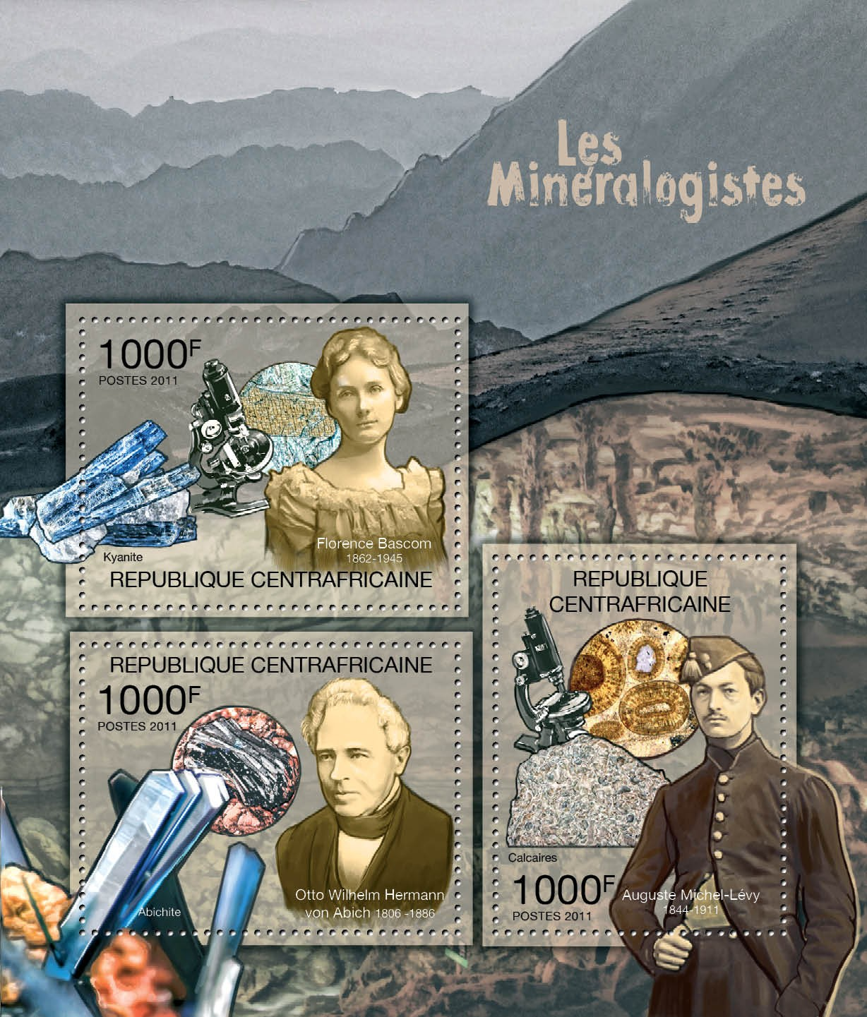 Mineralogists, (F.Bascom, O.W.Hermann, A.M.Levy). - Issue of Central African republic postage stamps