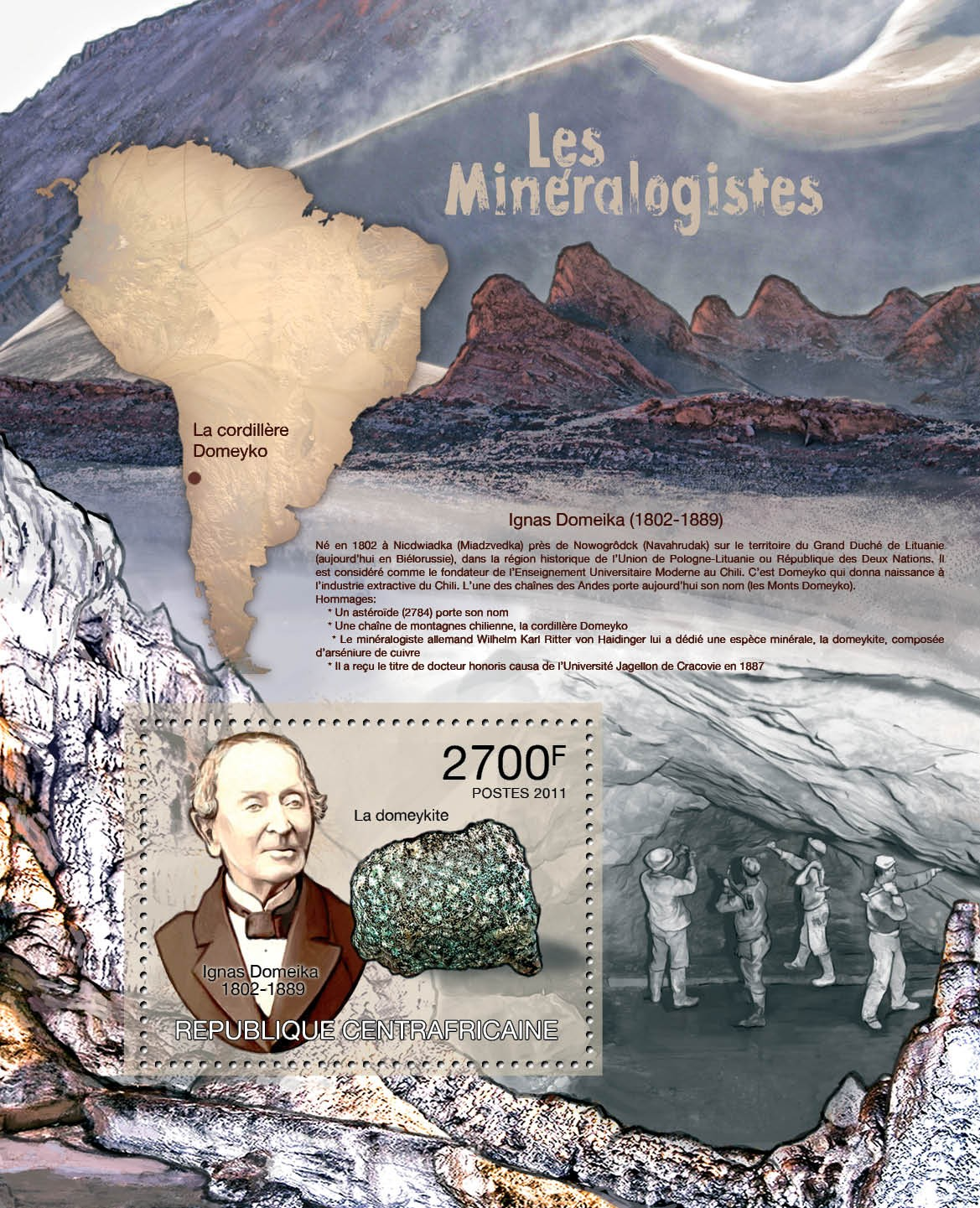 Mineralogists, (I.Domeika). - Issue of Central African republic postage stamps