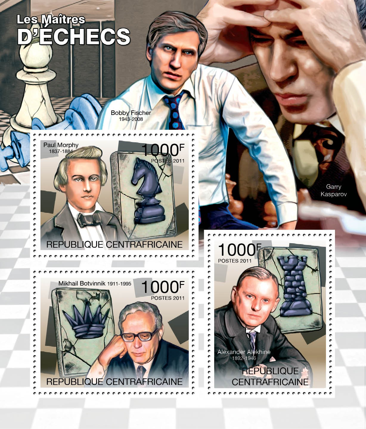 Chess Players, (P.Morphy, M.Botvinnik, A.Alekhine). - Issue of Central African republic postage stamps