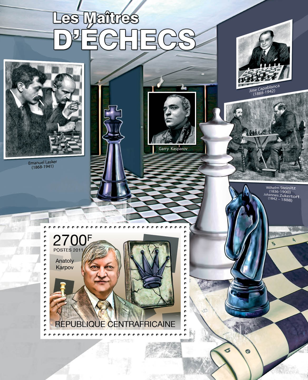 Chess Players, (Anatoly Karpov). - Issue of Central African republic postage stamps