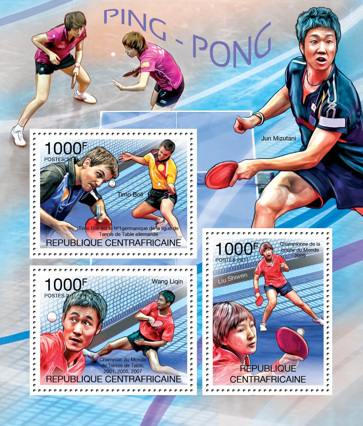 Table Tennis, (T.Boll, W.Ligin, L.Shiwen). - Issue of Central African republic postage stamps