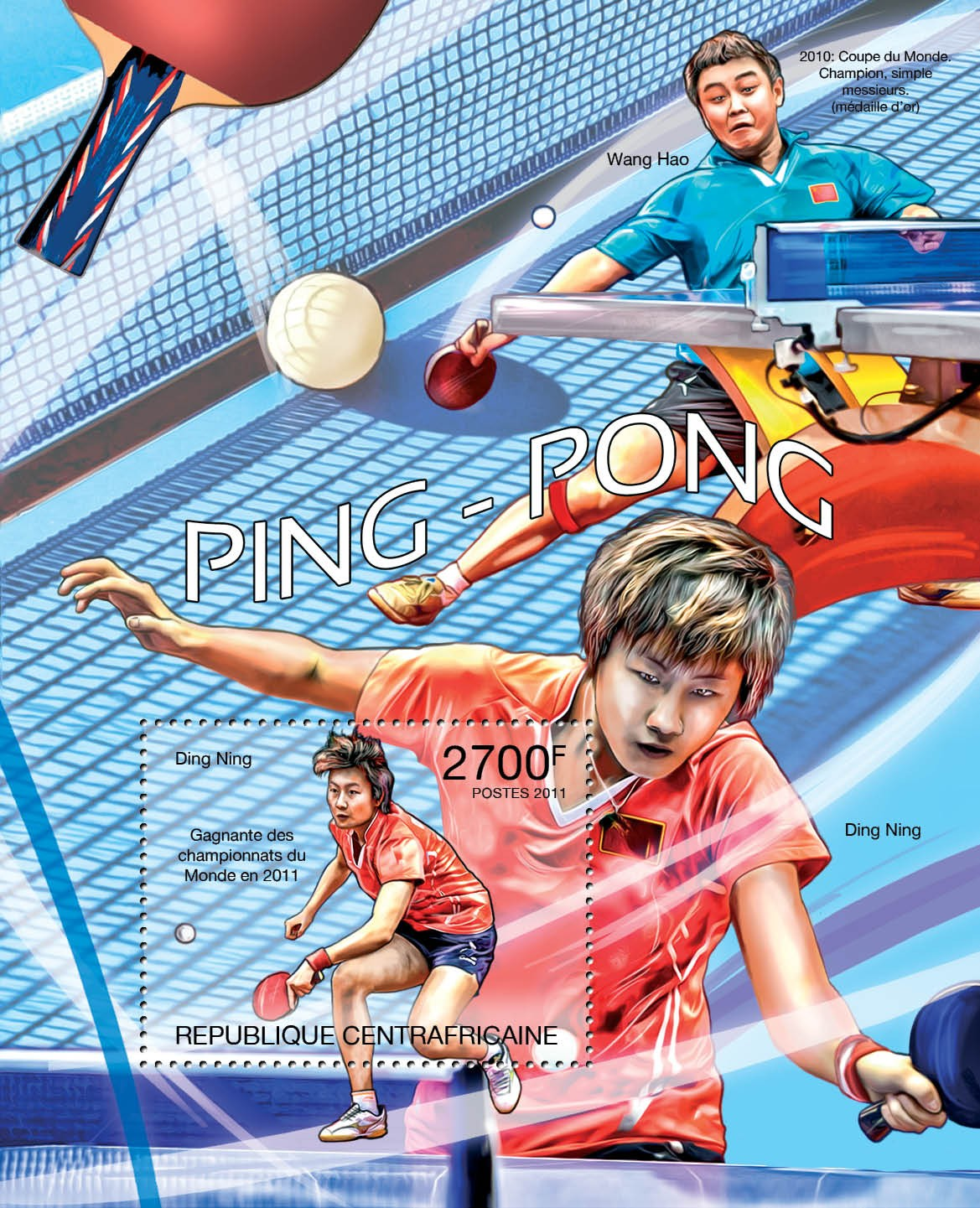 Table Tennis, (Ding Ning). - Issue of Central African republic postage stamps