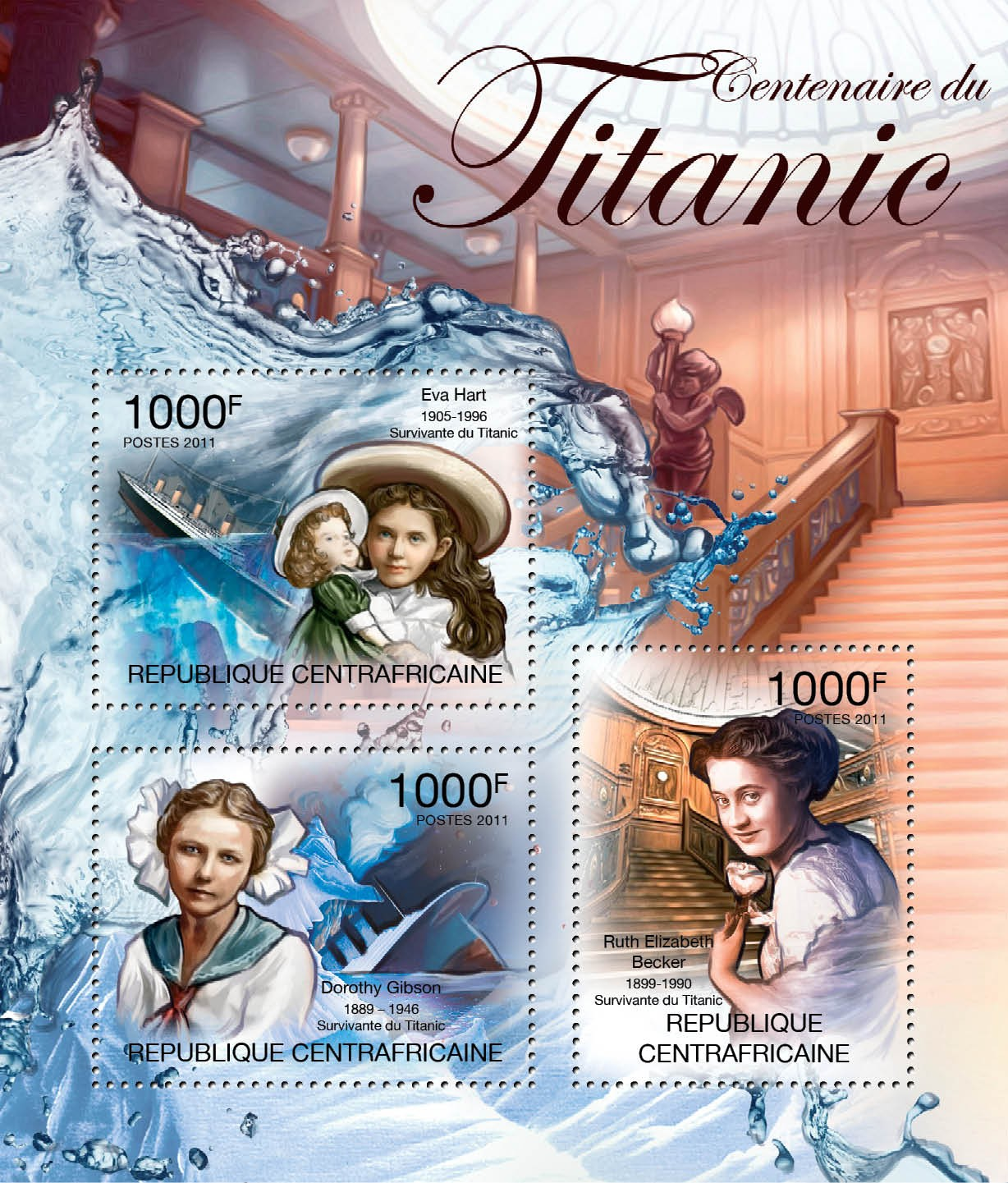 Centenary of Titanic. - Issue of Central African republic postage stamps