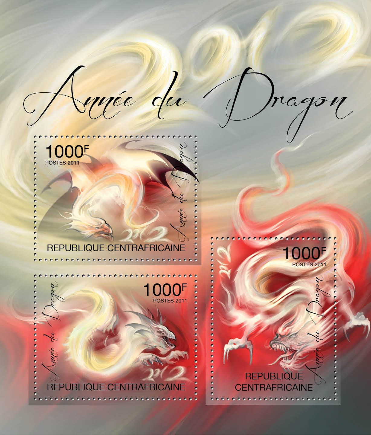 2012 Year of Dragon. - Issue of Central African republic postage stamps