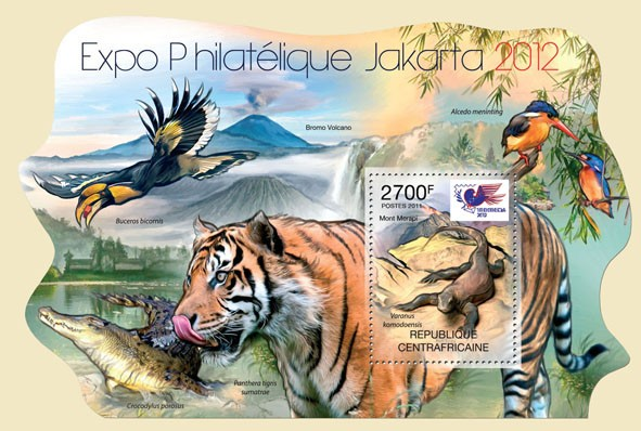 Philatelic Expo Jakarta 2012, (Indonesia). - Issue of Central African republic postage stamps