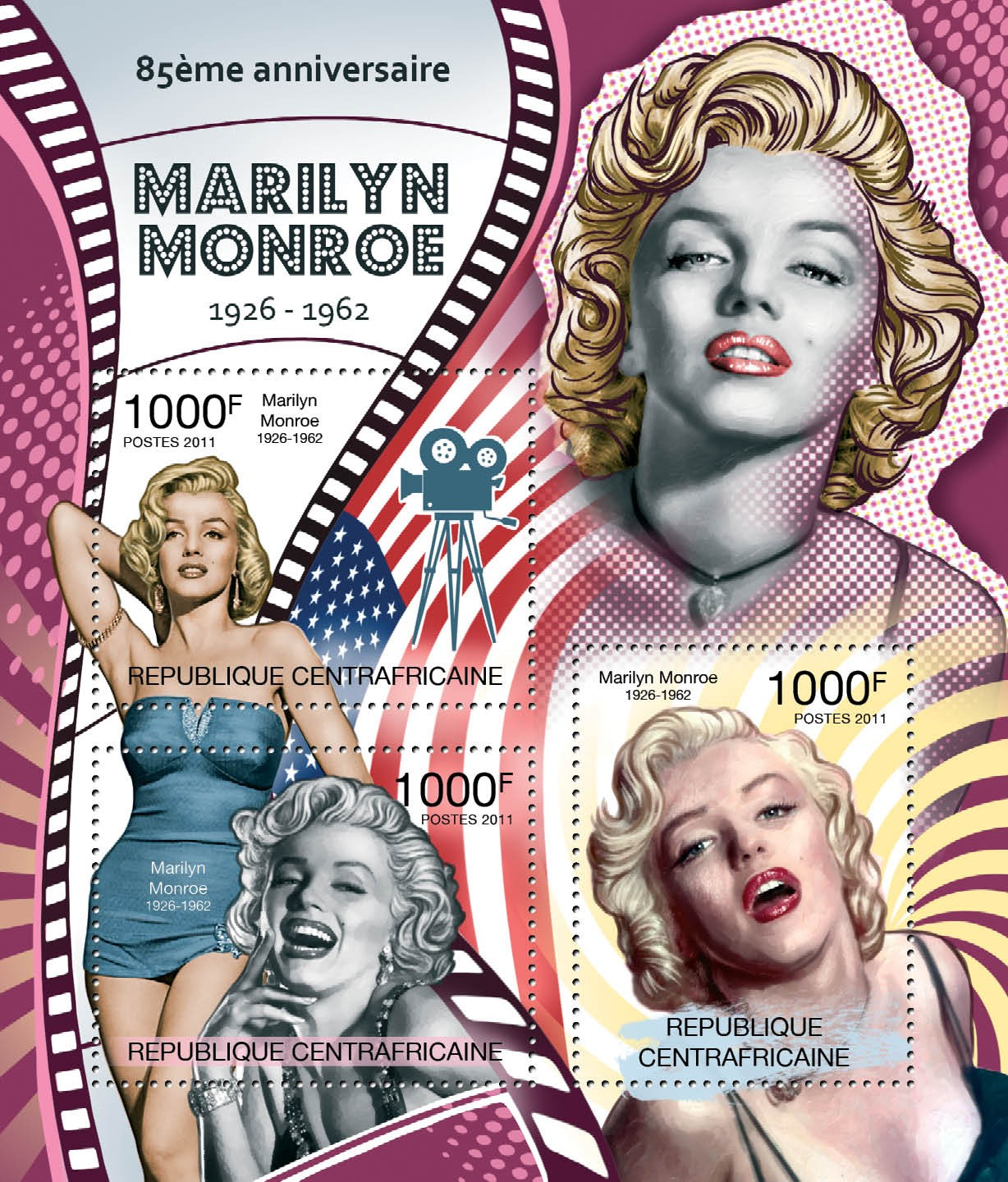 85th Anniversary of Marilyn Monroe, (1926-1962). - Issue of Central African republic postage stamps