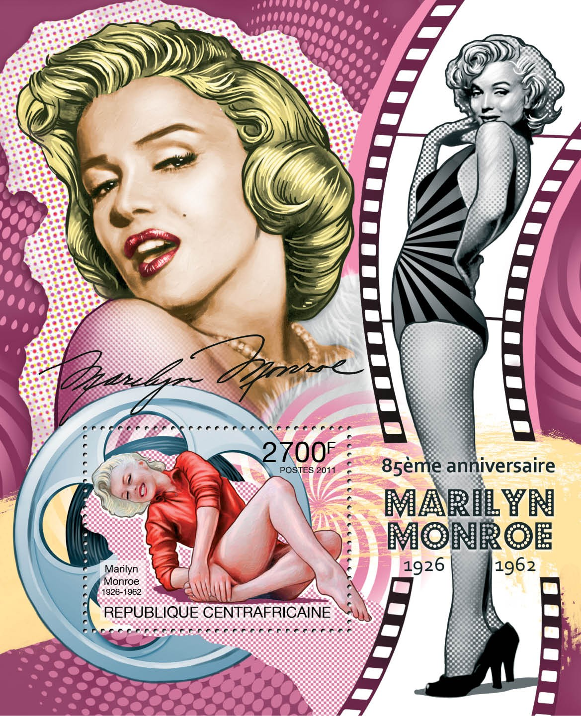 85th Anniversary of Marilyn Monroe. (1926-1962). - Issue of Central African republic postage stamps