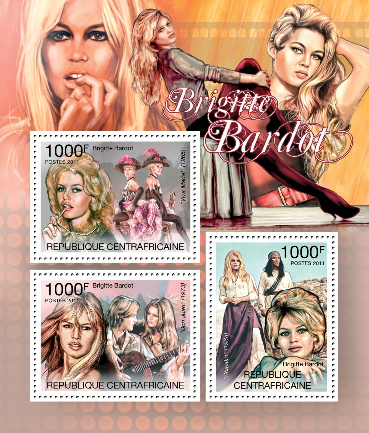 Brigitte Bardot. - Issue of Central African republic postage stamps
