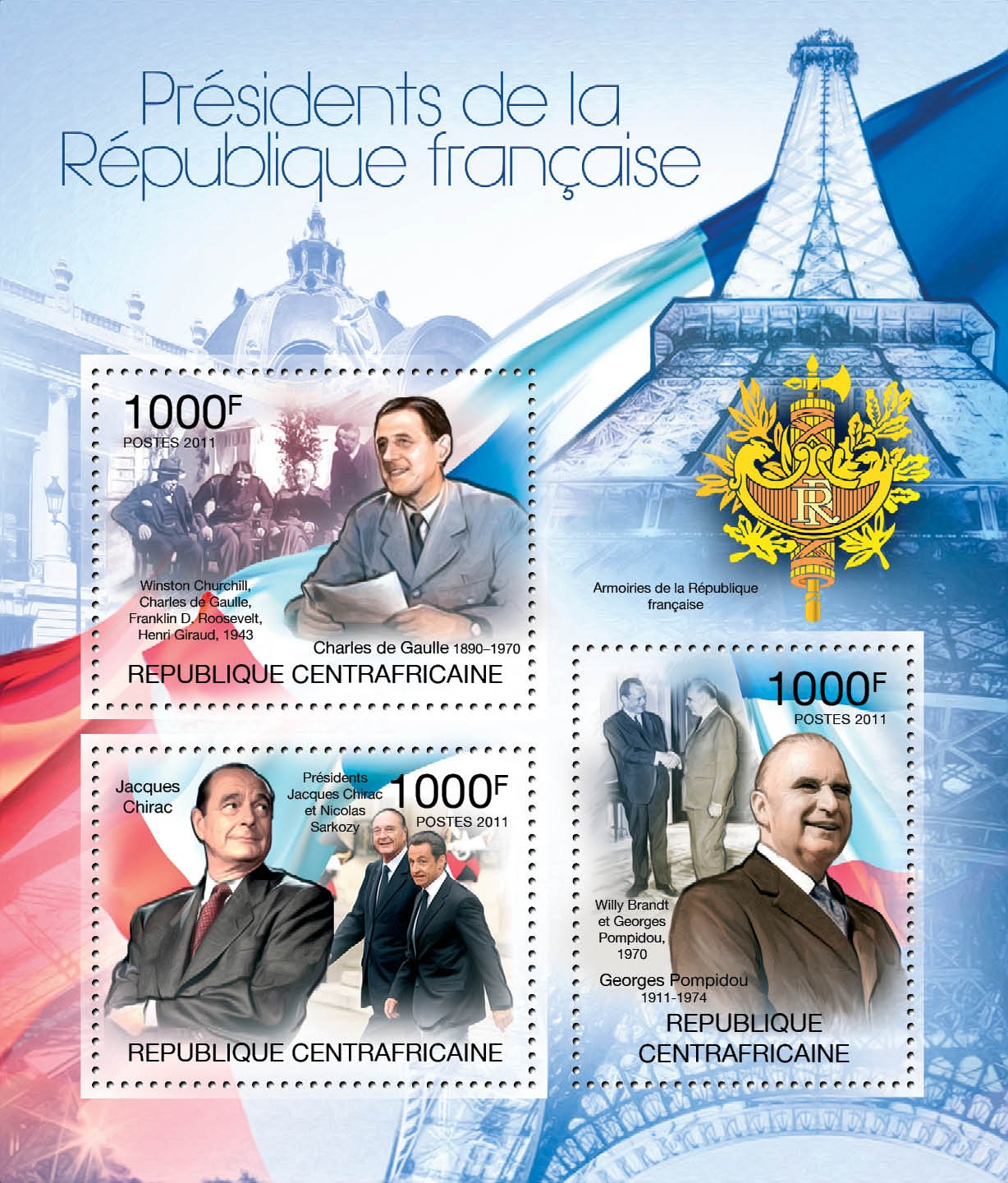 French Presidents, (Cahrles de Gaulle, Jacques Chirac, Georges Pompidou). - Issue of Central African republic postage stamps
