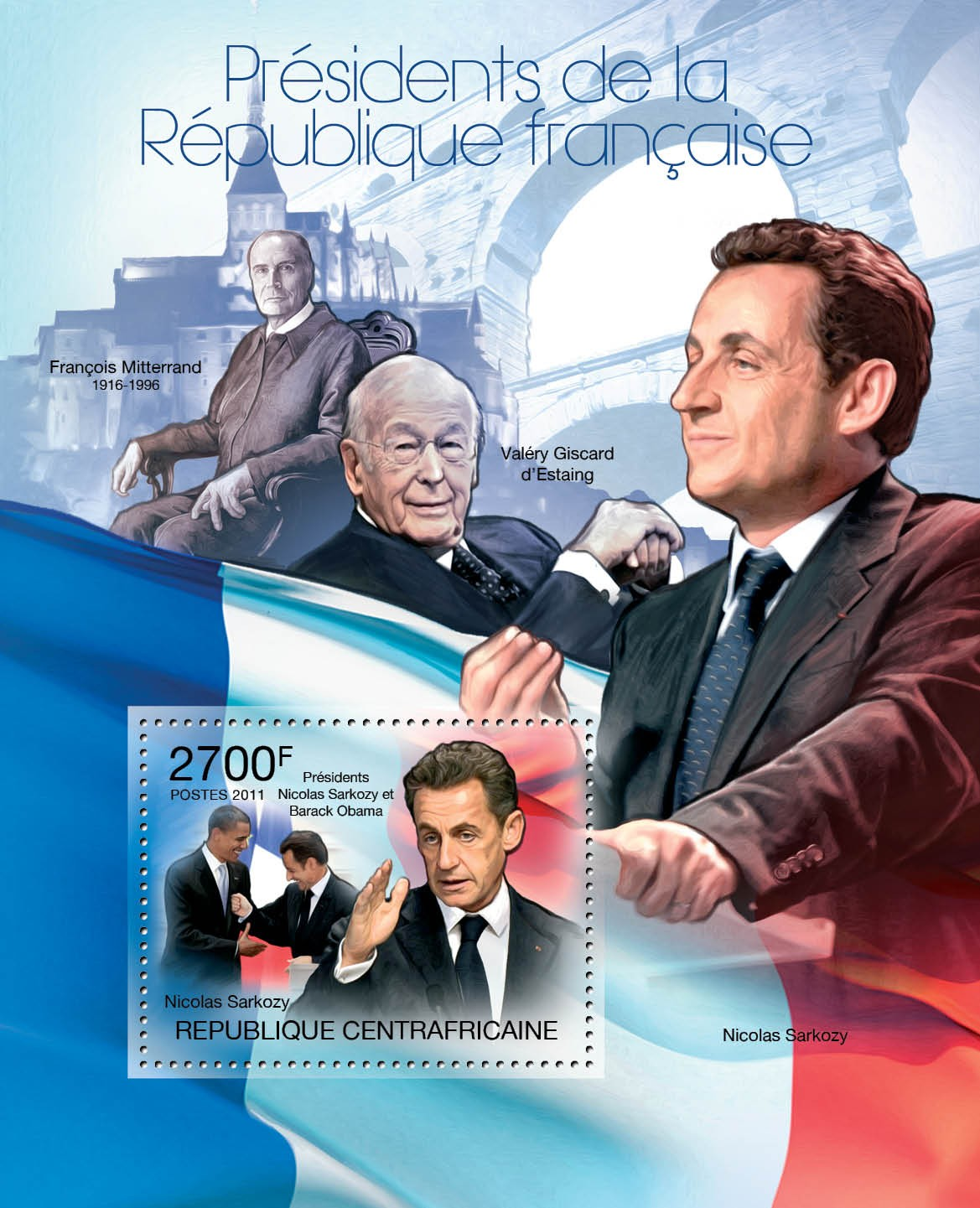 French Presidents, (Nicolas Sarkozy). - Issue of Central African republic postage stamps