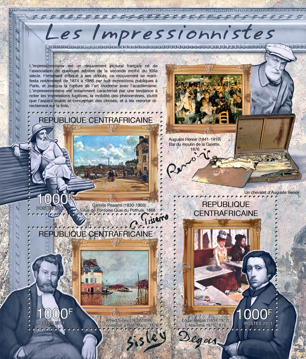 Impressionists, (C.Pissaro, A.Sisley, E.Degas). - Issue of Central African republic postage stamps